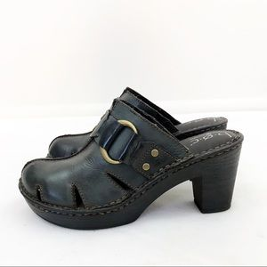 Boc • Born Chunky Heel Platform Leather Mule Clogs